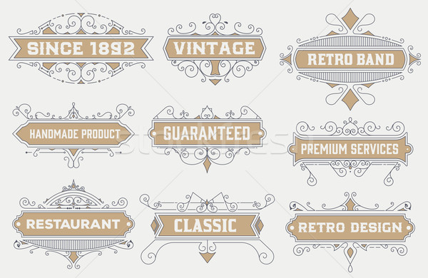 vintage logo template, Hotel, Restaurant, Business Identity set. Design with Flourishes. Royalty.  Stock photo © roverto