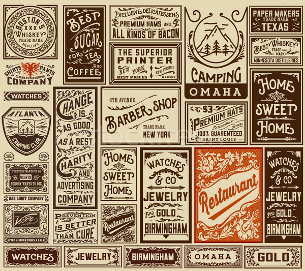 Mega pack old advertisement designs and labels - Vector illustra Stock photo © roverto
