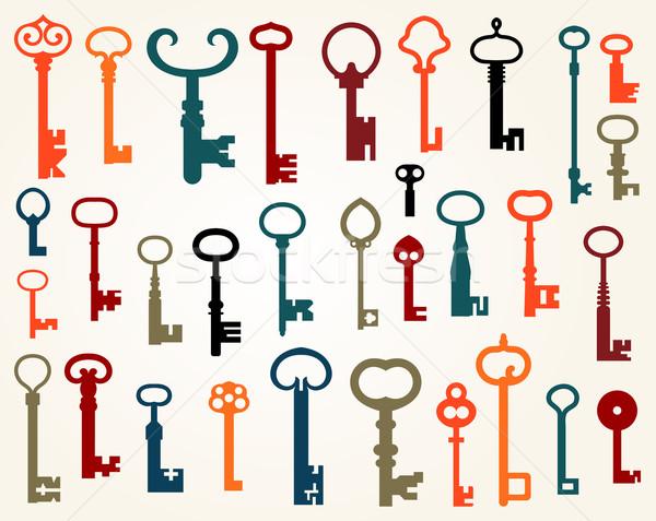 Szett öreg kulcsok vektor akta ajtó Stock fotó © roverto