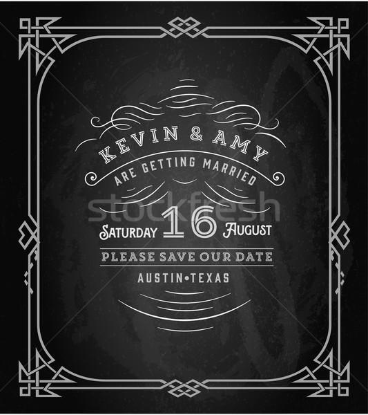 Vektör düğün davetiyesi bağbozumu kart çizim kara tahta Stok fotoğraf © roverto