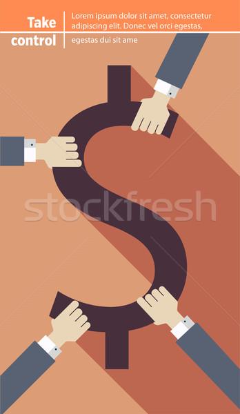 Kezek dollár szimbólum üzlet háttér rajz Stock fotó © roverto