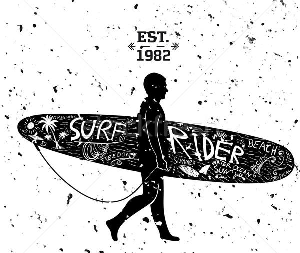 Sörf dizayn ağaç el deniz sanat Stok fotoğraf © roverto