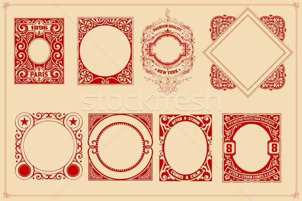 Retro kartları şablonları ayarlamak dizayn arka plan Stok fotoğraf © roverto