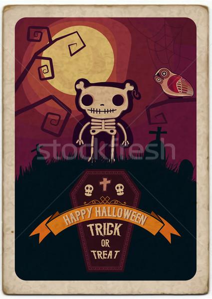 Хэллоуин плакат вектора файла дерево вечеринка Сток-фото © roverto