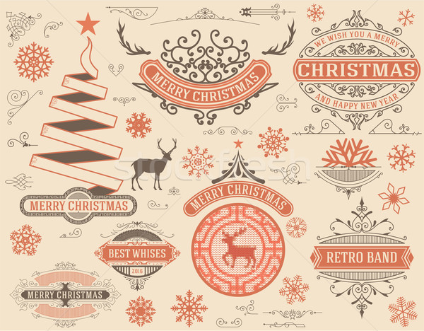 Karácsony dekoráció terv elemek vidám boldog Stock fotó © roverto