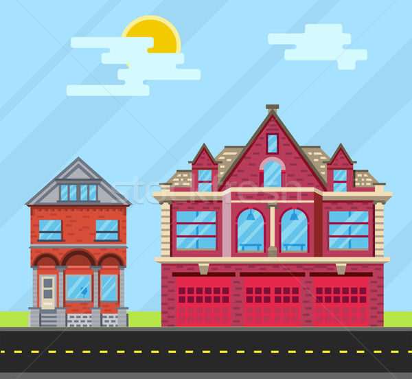 Set buildings house, Old house and  fire station. Vector flat il Stock photo © roverto