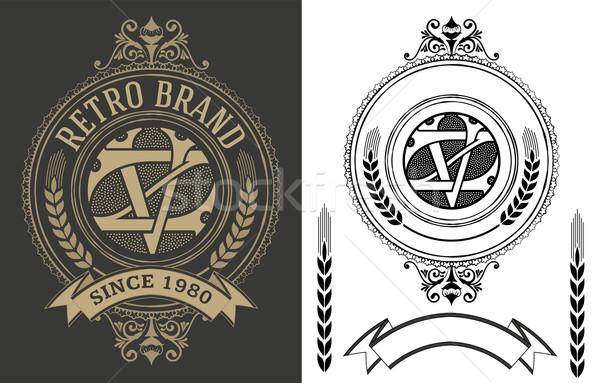 Retro label with monogram and elements Stock photo © roverto