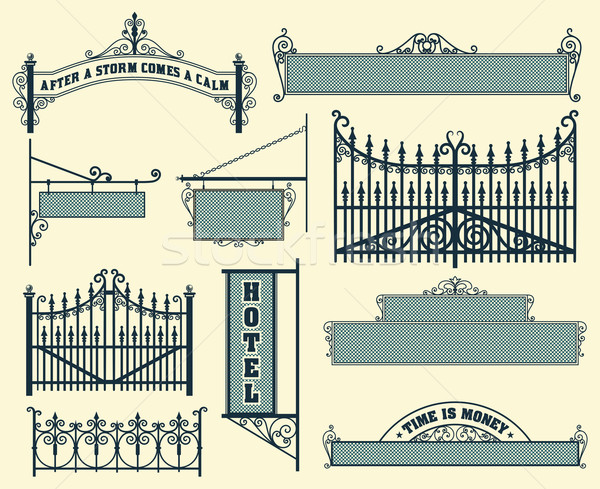 Vector set: wrought iron wicket, fence and gates grilles isolate Stock photo © roverto
