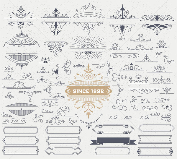 Kit of Vintage Elements for Invitations, Banners, Posters, Placa Stock photo © roverto