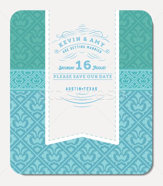 Retro mavi zarif davetiye dizayn vektör Stok fotoğraf © roverto