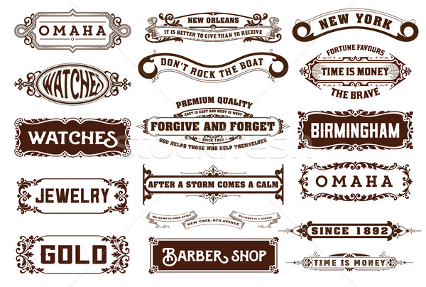 17 Labels and banners. Vector Stock photo © roverto