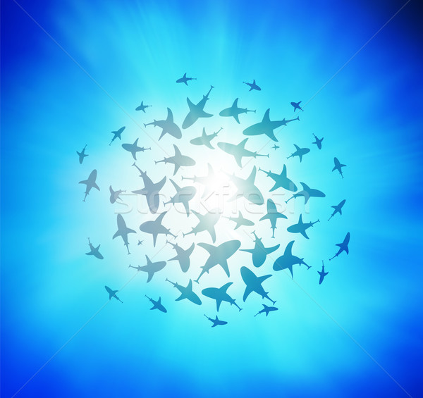 sharks circling from above Stock photo © roverto