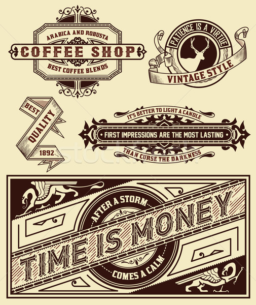 Set of retro labels. Vector Stock photo © roverto