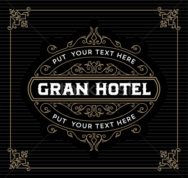 Vintage logo modèle hôtel restaurant affaires Photo stock © roverto