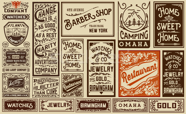 mega pack old advertisement designs and labels - Vintage illustr Stock photo © roverto