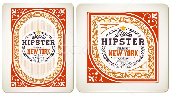 ベクトル レトロな カード フローラル 細部 整理 ストックフォト © roverto
