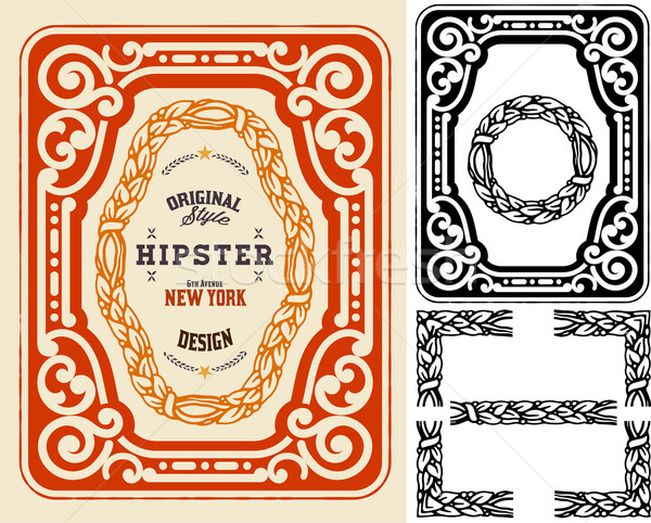 Retro card with design elements. Organized by layers. Stock photo © roverto