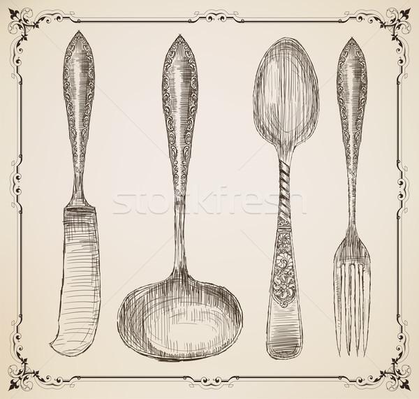 カトラリー いたずら書き スタイル ベクトル ホーム レストラン ストックフォト © roverto