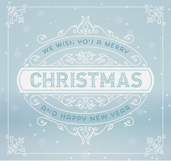 Karácsony üdvözlőlap klasszikus dísz dekoráció vidám Stock fotó © roverto