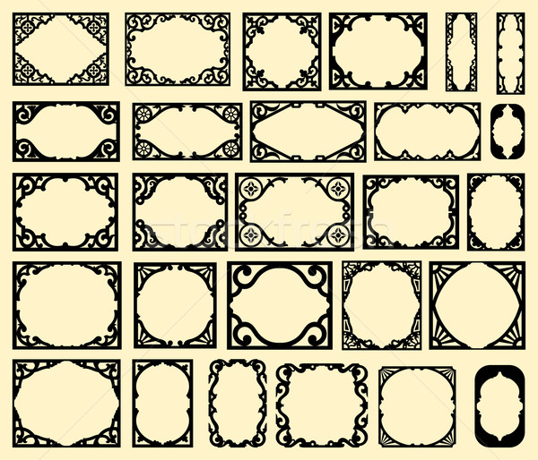 Ayarlamak siyah bağbozumu kareler dizayn elemanları Stok fotoğraf © roverto