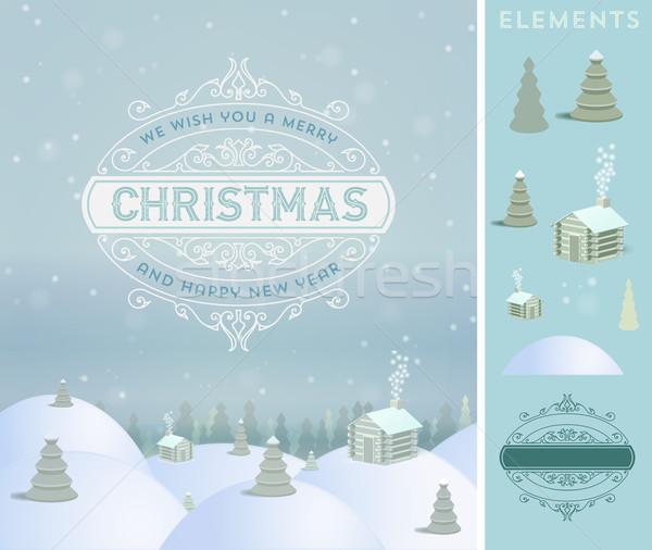 Neşeli Noel tatil tebrik kartı bağbozumu Stok fotoğraf © roverto