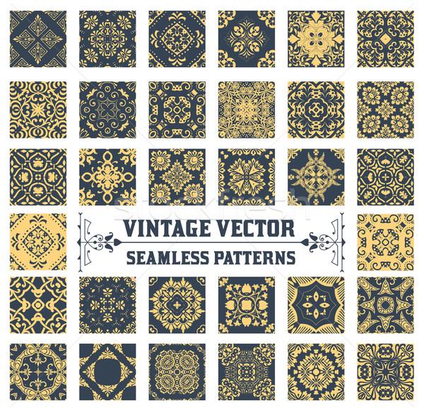 Végtelenített minták gyűjtemény textúra háttér retro tapéta Stock fotó © roverto