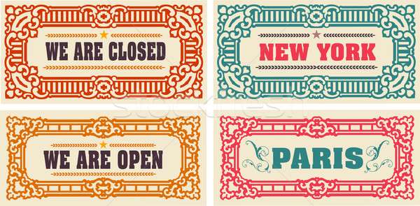 Retro cards and door signs. Organized by layers. Stock photo © roverto