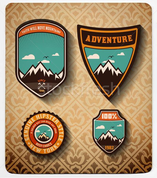 Vettore avventura badge sole arancione Foto d'archivio © roverto