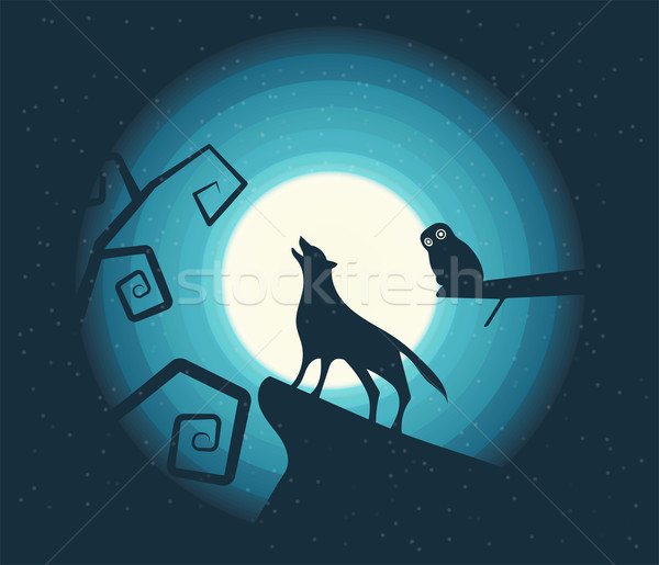 Wolf Howling in the Moonlight Stock photo © roverto