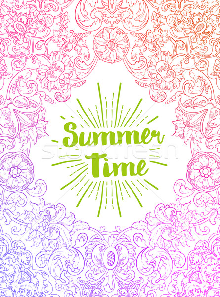Summer Time card. Baroque style Stock photo © roverto