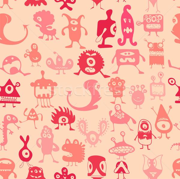 Stockfoto: Zonde · vector · monsters · patroon · glimlach · gelukkig