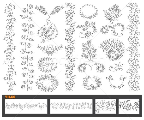 Vektor kézzel rajzolt vonal keret szett dizájn elem Stock fotó © roverto