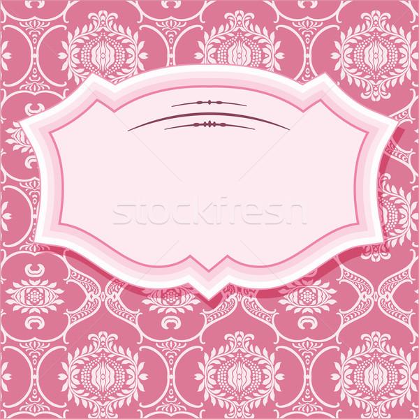Keret pasztell rózsaszín retro kártya klasszikus Stock fotó © roverto