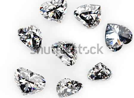 Collection brilliants shape of heart, round and square Stock photo © Rozaliya
