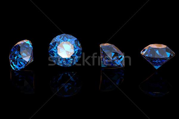 Blauw saffier geïsoleerd zwarte edelsteen mode Stockfoto © Rozaliya