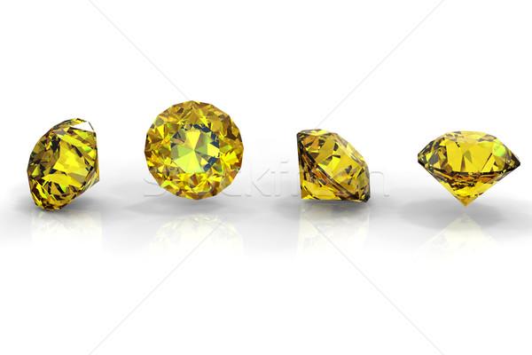 Geel saffier geïsoleerd witte edelsteen diamant Stockfoto © Rozaliya