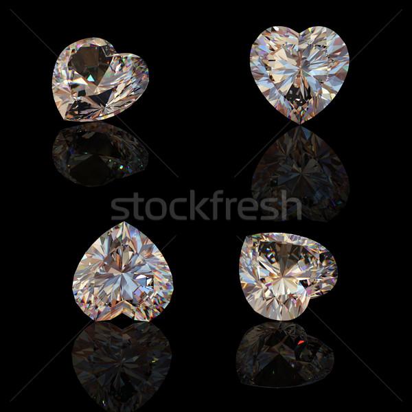 Ensemble forme diamant coeur noir cognac Photo stock © Rozaliya