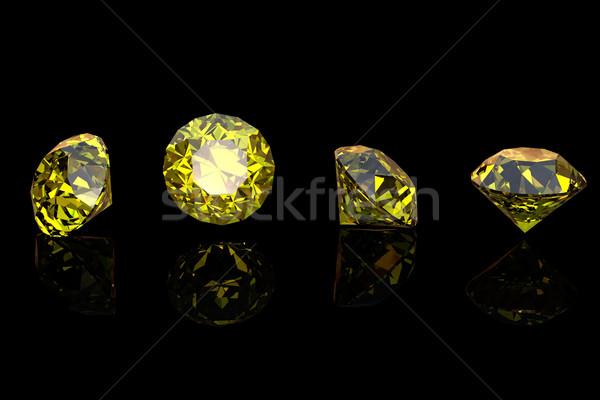 Geel saffier geïsoleerd zwarte edelsteen mode Stockfoto © Rozaliya