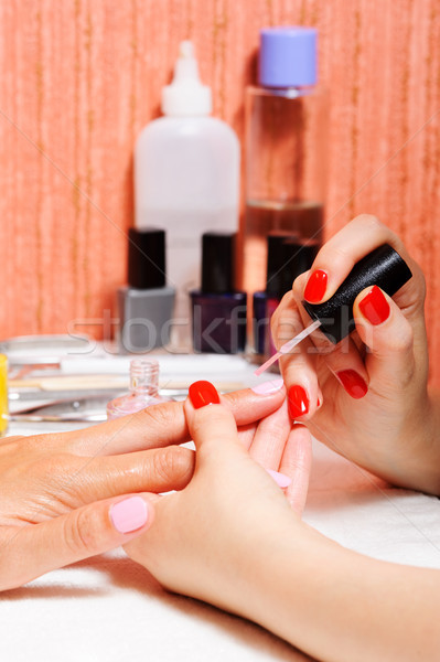 Skin and nail care. Applying of the Transparent varnish.  Stock photo © rozbyshaka