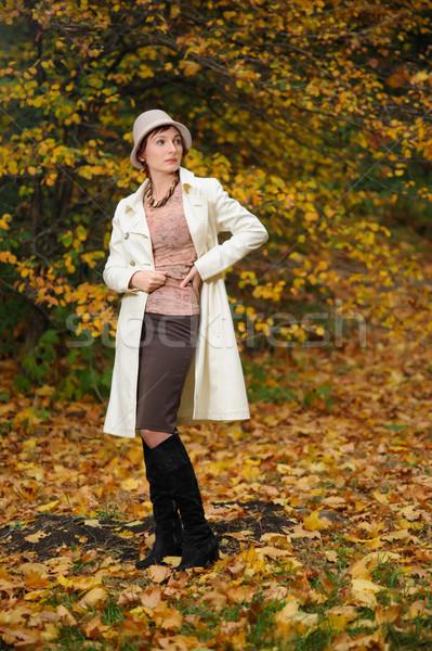 魅力のある女性 秋 公園 小さな 徒歩 ストックフォト © rozbyshaka