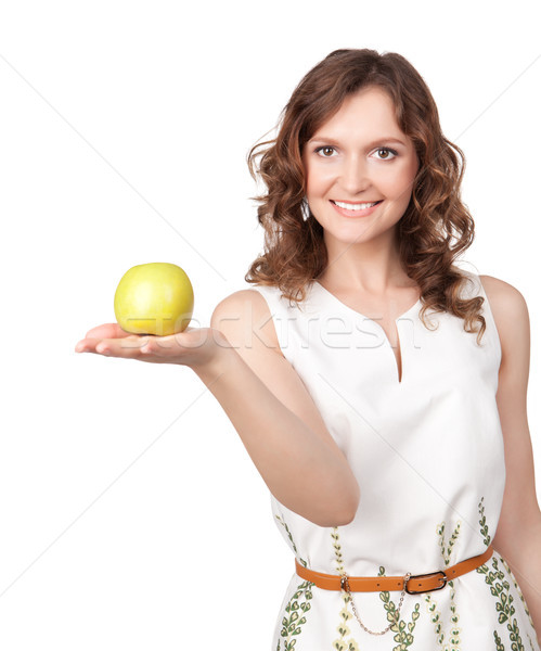Portrait of young girl which gives of a green apple Stock photo © rozbyshaka