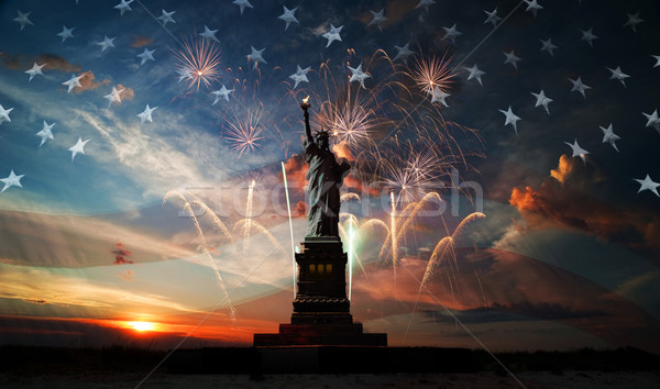 Día libertad mundo estatua bandera EUA Foto stock © rozbyshaka