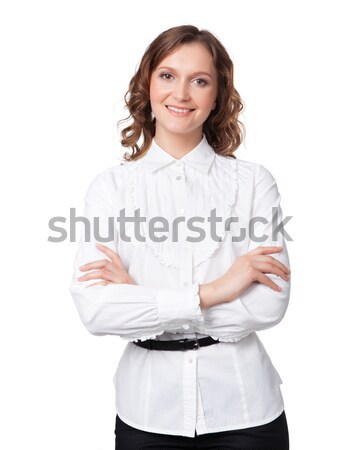 Portrait of a happy young business woman Stock photo © rozbyshaka