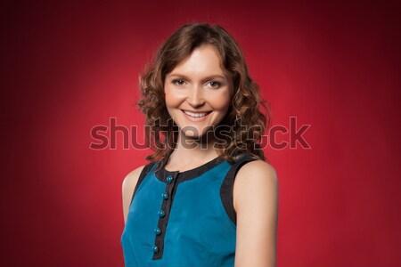 Portre güzel genç kadın kırmızı kadın gülümseme Stok fotoğraf © rozbyshaka