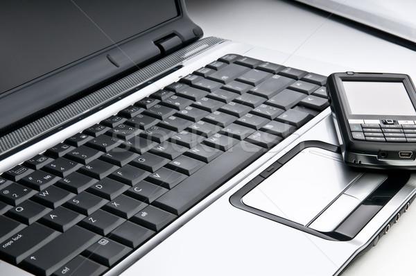 üzlet munkahely laptop telefon közelkép kommunikáció Stock fotó © rozbyshaka