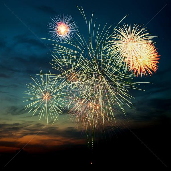Colorido fogos de artifício céu noturno cores fundo Foto stock © rozbyshaka
