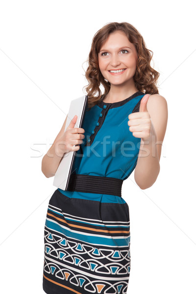 Portre mutlu genç kadın poz dizüstü bilgisayar beyaz Stok fotoğraf © rozbyshaka