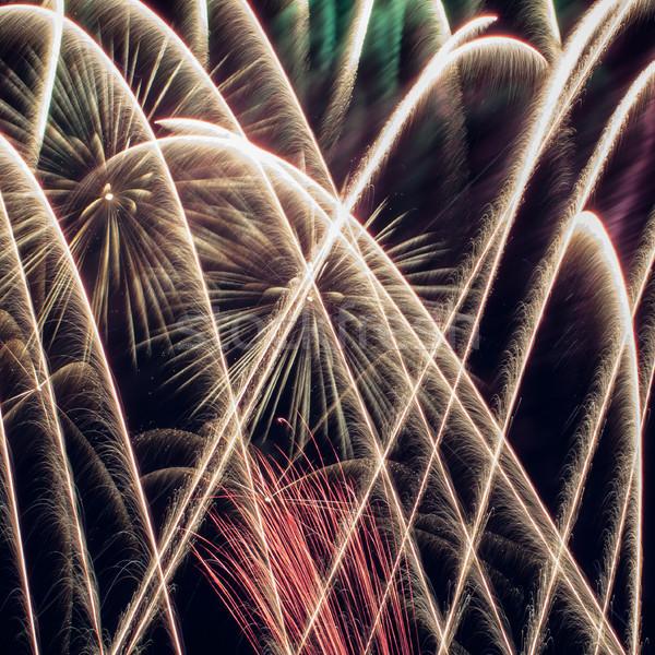 Colorido fogos de artifício escuro céu aniversário noite Foto stock © rozbyshaka