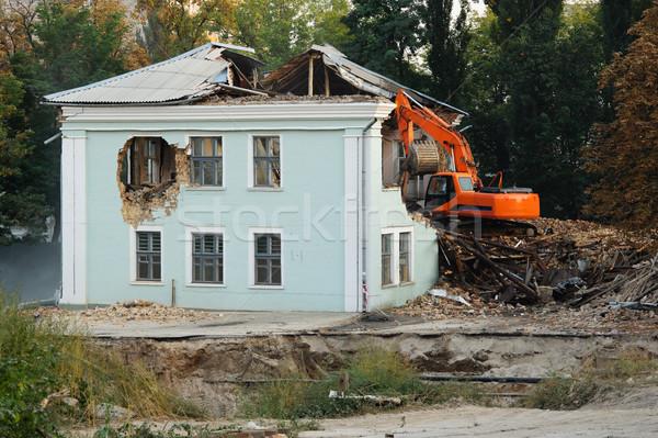 Rombolás régi ház újjáépítés fal ablak városi Stock fotó © rozbyshaka