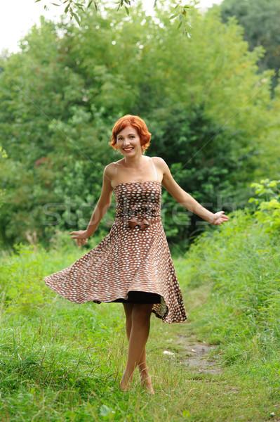 Retrato mulher ao ar livre jovem bela mulher menina Foto stock © rozbyshaka